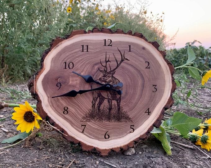Engraved Wood Clock Elk Art Elk Clock Wildlife art Father's Day gift for Dad men Lodge Cabin Art Man cave Elk hunting art by Nicole Heitzman