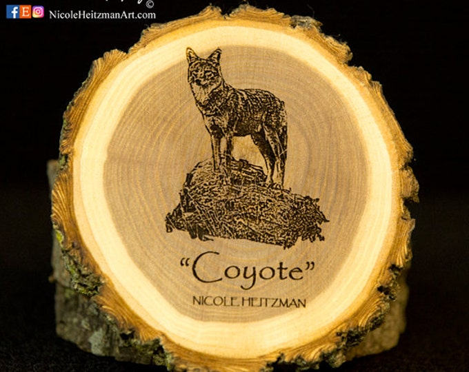 Christmas Gifts for men Dad Coyote coaster Wood Art Wooden Coaster Man Cave Decor Lodge Decor dog Coaster Wood Coasters by Nicole Heitzman