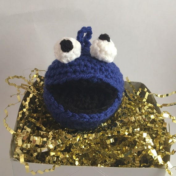 Cookie Monster From Sesame Street Inspired Large Crocheted Ornament Kid And Pet Friendly