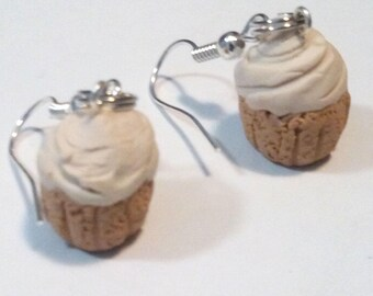 Vanilla Cupcake Miniature Food Polymer Clay Earrings