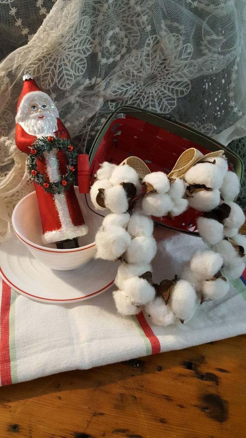 Cotton Wreath Kitchen Towel Jingle all the Way Christmas Bundle with Sweet Vintage Hazel Atlas Cup and Saucer Glass Santa Ornament.