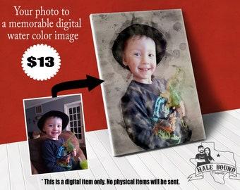 Custom Watercolor Portrait  Pet Portrait   House Portrait   Printable Digital File