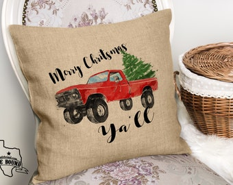 Red Big 4x4 Christmas Truck Faux Burlap Throw Couch Pillow - PILLOW COVER ONLY