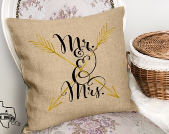 Mr and Mrs Arrow Black & Gold Faux Burlap Throw Couch Pillow - PILLOW COVER ONLY