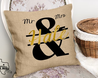 Mr and Mrs Black & Gold Faux Burlap Throw Couch Pillow - PILLOW COVER ONLY
