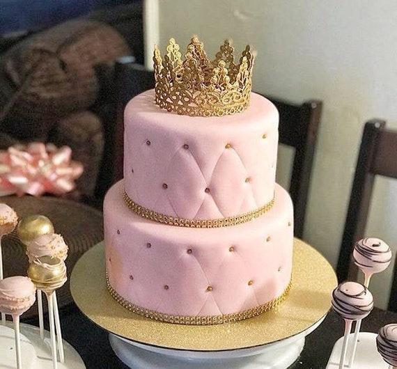 Amazing Crown Cake Topper Princess Party Gold Baby Crown Tiara Etsy Funny Birthday Cards Online Kookostrdamsfinfo