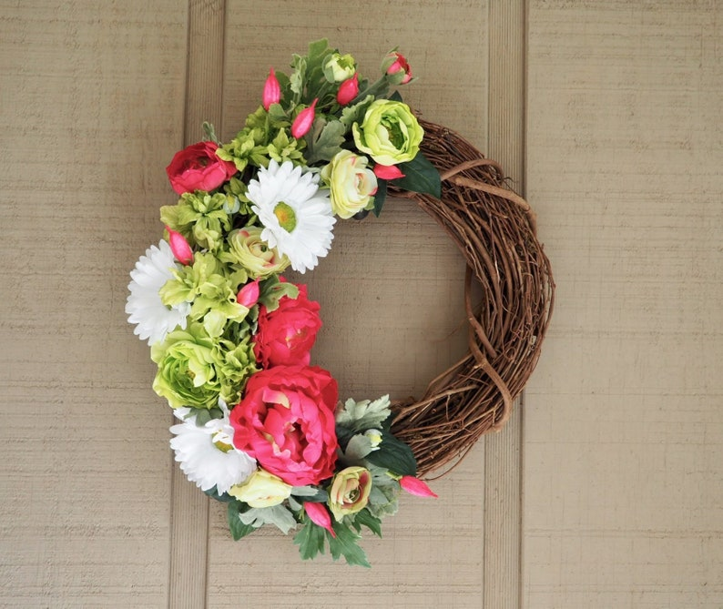 Spring Wreaths For Front Door Summer Floral Wreath Porch Etsy