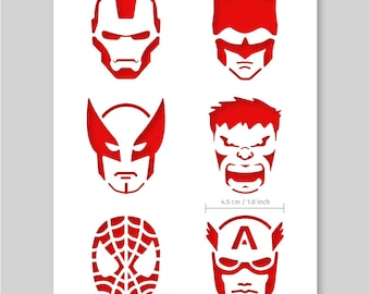 SUPERHERO Set of 3pcs Stencils FLASH CAPTAIN AMERICA X MAN Cupcake Icing Card