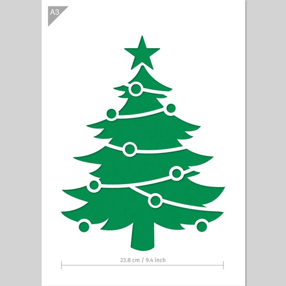 Christmas Tree Stencil A3 Card Or Plastic Reusable Kids Etsy