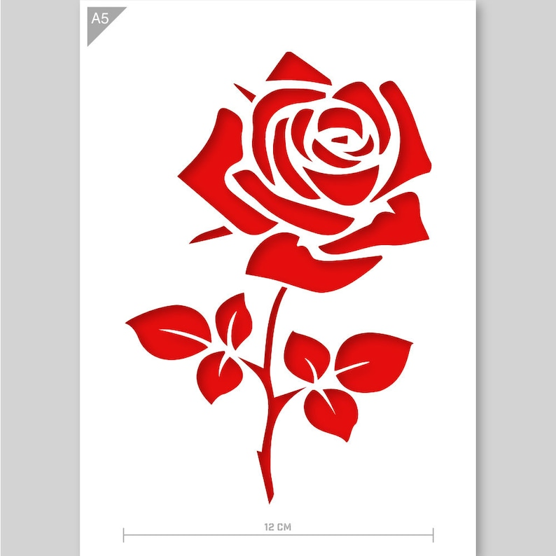 Rose Stencil - Flower Stencil - Flower Branch Stencil - A5 Reusable kids  friendly for painting crafts wall and furniture stencil