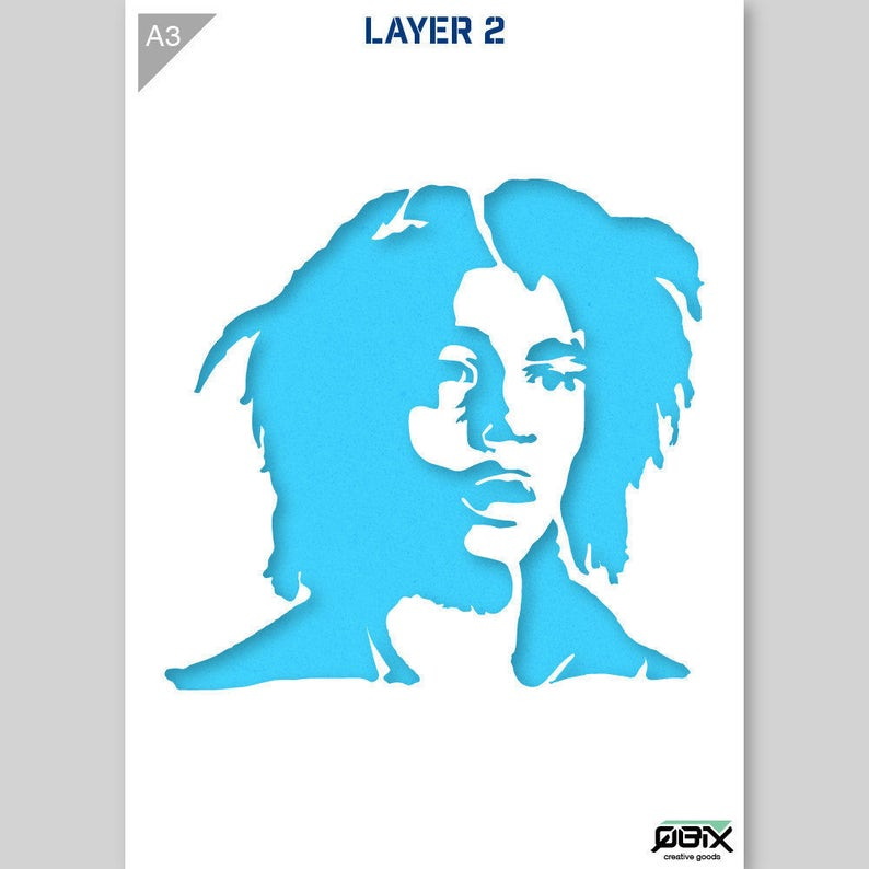 Bob Marley Plantilla Reutilizable A4 Tamaño