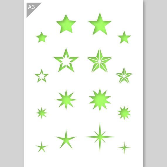 Star Shapes Stencil Card Plastic A3 42x297 Cm