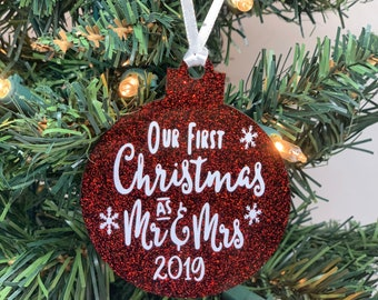 Our First Christmas Ornament Acrylic - Mr and Mrs Ornament - Personalized Wedding Ornament - Newlywed Ornament