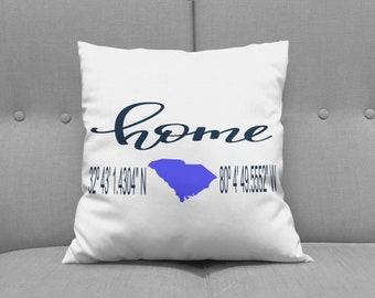 Home pillow state - Latitude Longitude Pillow -  Mother's day gift - coordinates pillow - state - cordinates - pillow