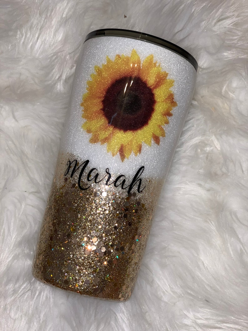 Sunflower tumbler with inspiring quote wild flower tumbler image 0