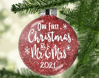 Our First Christmas Glitter Ornament - Mr and Mrs Ornament - Wedding Ornament