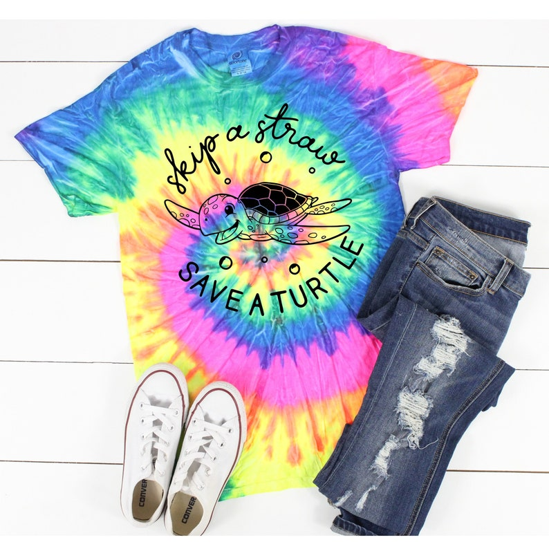 Skip the Straw Save a Turtle  Tie Dye Shirt image 0