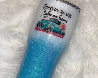 Country Roads Take me Home Glitter Ombre Tumbler