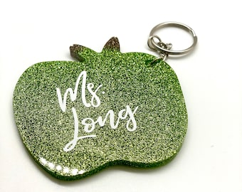 Personalized Teacher Name Acrylic Apple Keychain, Teacher Appreciation Gift, Tutor, Educator, Teacher Gift