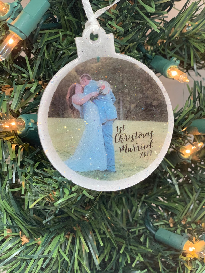 Our First Christmas Picture Ornament Acrylic  Mr and Mrs White