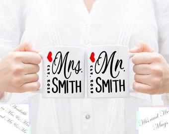 Bride and Groom Mug Set, Mr and Mrs Mug Set, Mr and Mrs Anniversary Mug, Couple Wedding Mug Set, Personalized Mr and Mrs Mug Set, Engagement