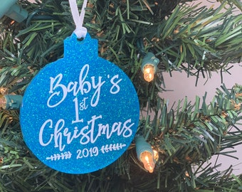 Baby's 1st Christmas Ornament Acrylic - Baby's First Christmas Ornament - Newborn Christmas - Pregnancy Reveal Ornament