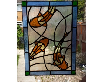 Three Koi Fish Stained Glass Panel, for wall, window or suncatcher
