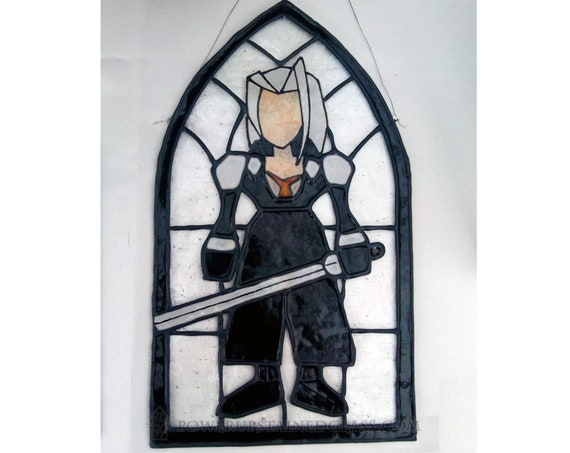 Final Fantasy Vii Sephiroth Stained Glass Style Painted Glass Panel Hanger For Wall Window Or Suncatcher Ps1 Ff7 Gifts For Gamers