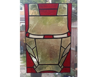 Iron Man Stained Glass Panel, for wall, window or suncatcher.