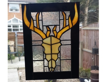 Stag Skull Stained Glass Panel, for wall, window or suncatcher