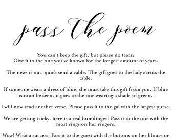 pass the poem bridal shower game