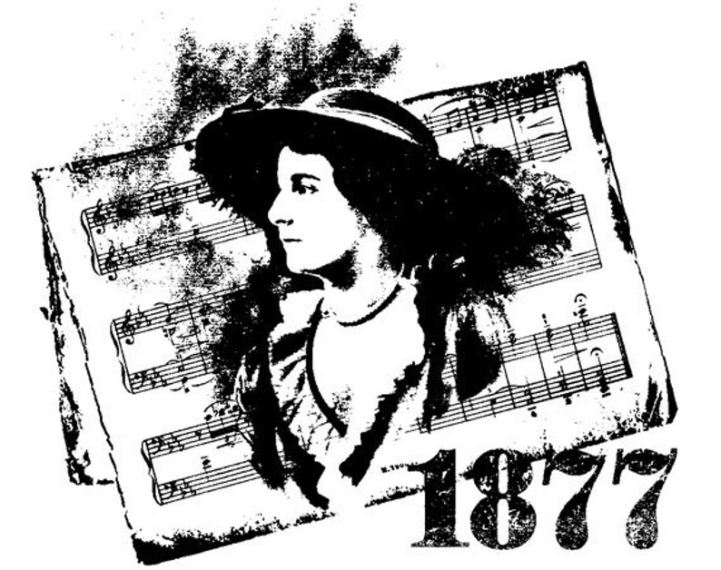 EZ Mounted Rubber Stamp Victorian 1877 Woman Background Sheet image 0