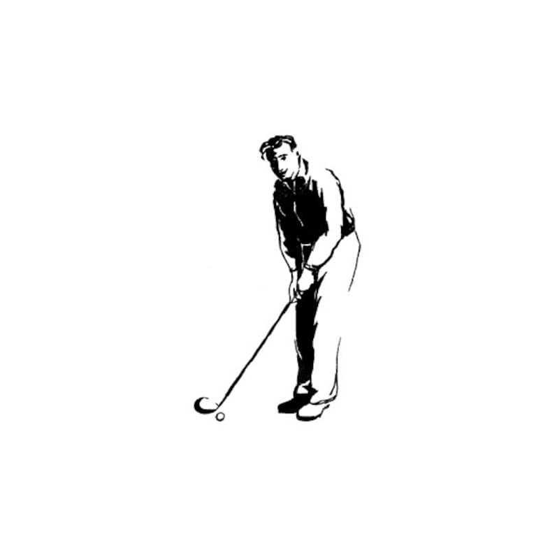EZ Mounted Rubber Stamp Man Playing Golf Altered Art Craft image 0