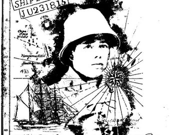 EZ Mounted Rubber Stamp Vintage Style Ship's Boy Collage Maritime Background Altered Art Craft Scrapbooking Cardmaking Collage Supply.