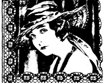EZ Mounted Rubber Stamp Edwardian 1900s Woman Background Lace Altered Art Craft Scrapbooking Cardmaking Collage Supply.
