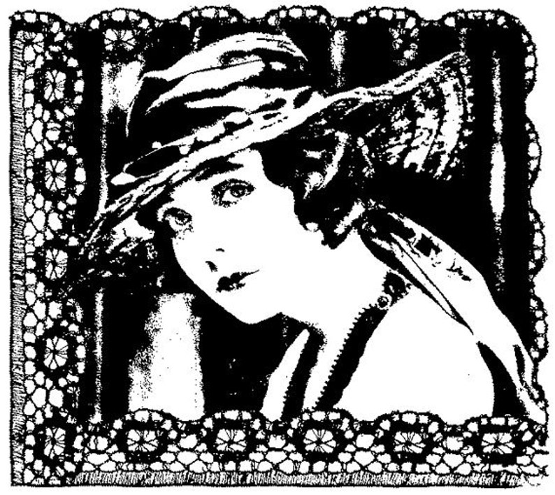 EZ Mounted Rubber Stamp Edwardian 1900s Woman Background Lace image 0