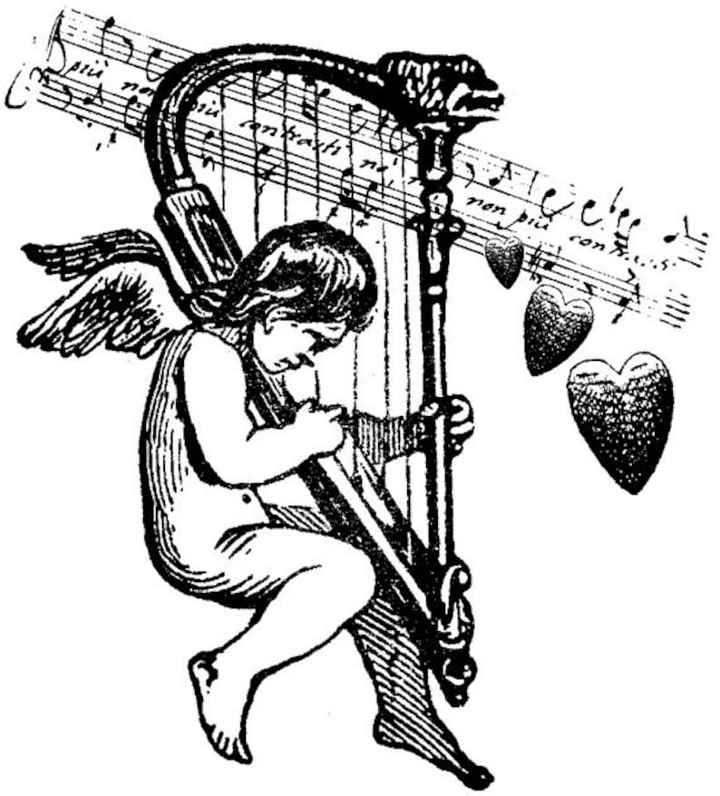 EZ Mounted Rubber Stamp Victorian Cherub playing Harp Music image 0