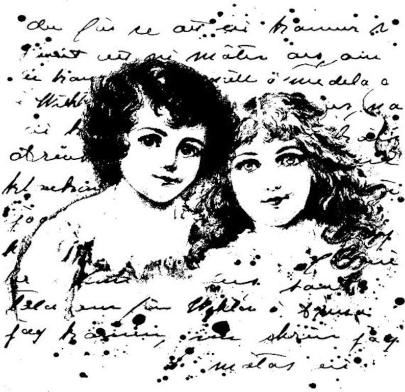 EZ Mounted Rubber Stamp Edwardian 1900s Girls Dolls Background image 0