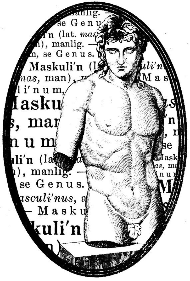 EZ Mounted Rubber Stamp 1700s Man Torso Statue Masculin image 0