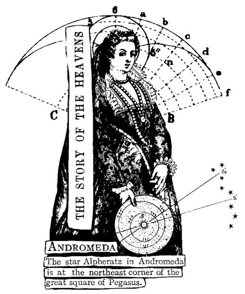EZ Mounted Rubber Stamp 1600s Science Astro Andromeda Woman image 0