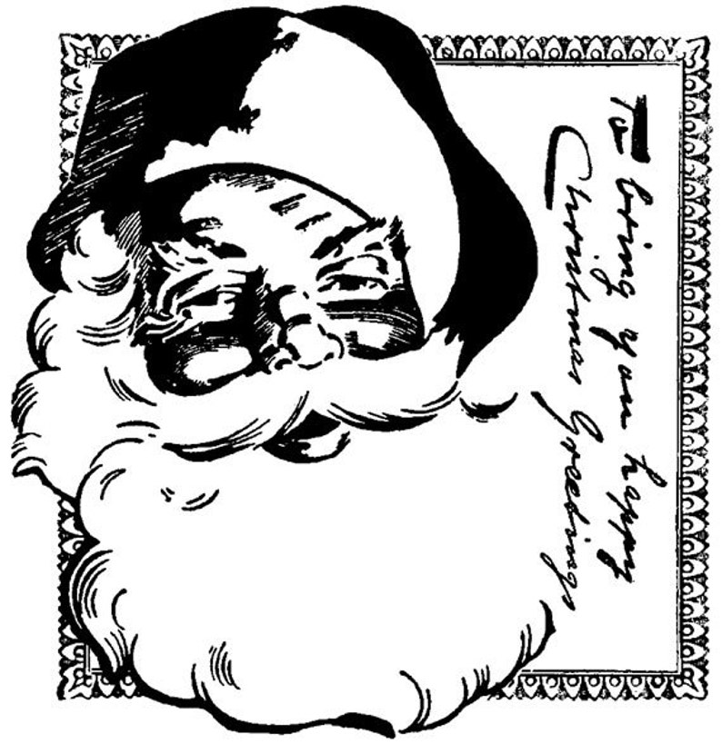 EZ Mounted Rubber Stamp Christmas Greetings Vintage Style image 0