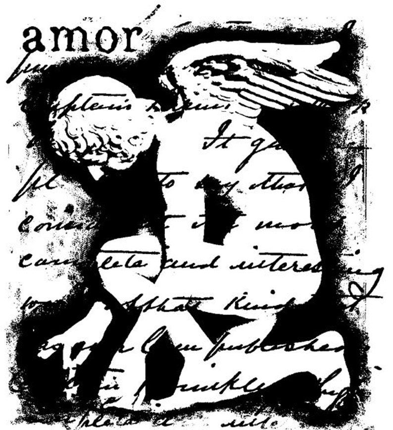 EZ Mounted Rubber Stamp Amor Statue Background Writing Altered image 0