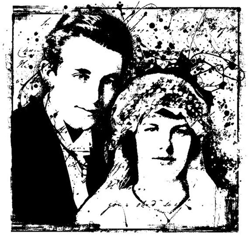 EZ Mounted Rubber Stamp Vintage Style Wedding Couple Altered image 0