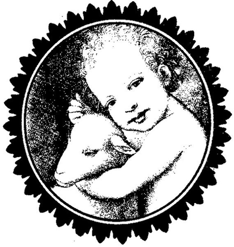 EZ Mounted Rubber Stamp Child with Lamb Collage Altered Art image 0