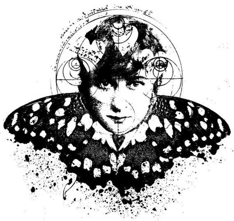EZ Mounted Rubber Stamp Avant Garde Butterfly Woman Altered image 0