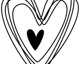 EZ Mounted Rubber Stamp Wedding Hearts Craft Scrapbooking Cardmaking Invitation Supply