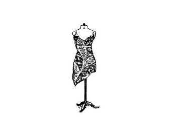 EZ Mounted Rubber Stamp Vintage Style Woman's Dress on Mannequine Altered Art Craft Scrapbooking Cardmaking Collage Supply.