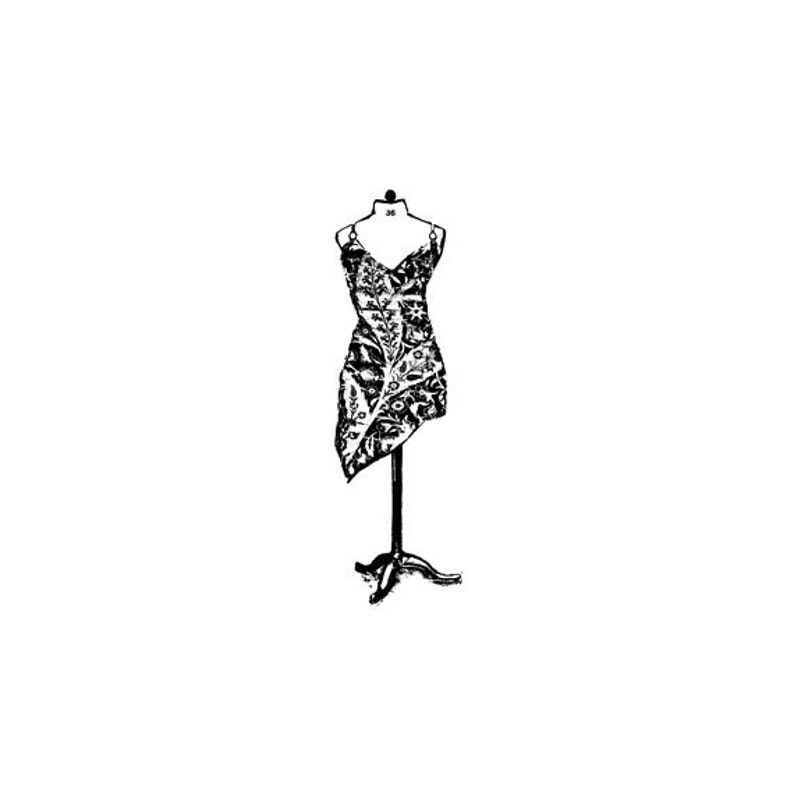 EZ Mounted Rubber Stamp Vintage Style Woman's Dress on image 0