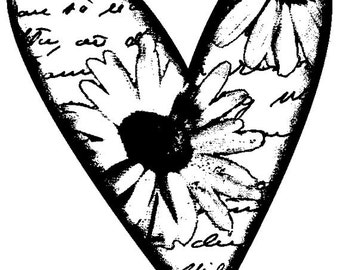 EZ Mounted Rubber Stamp Heart with Flower and Background Writing Altered Art Craft Scrapbooking Cardmaking Collage Supply.