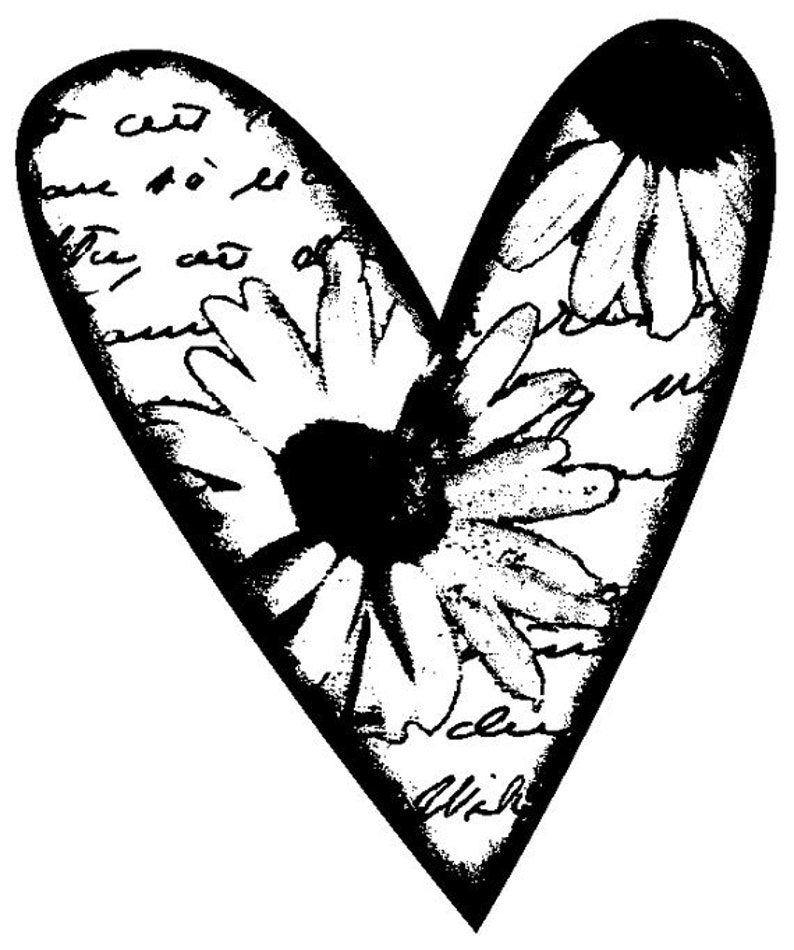 EZ Mounted Rubber Stamp Heart with Flower and Background image 0